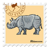 Stamp with rhinoceros Royalty Free Stock Photos
