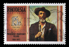 Stamp in Rhodesia shows Frederick Courteney royalty free stock images