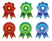 Stamp & Ribbon design element for Excellence Performance award in red green & blue royalty free stock photography