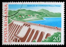 Stamp from Romania shows image of Firiza Dam and Hydropower Station. Circa 1978 stock photos