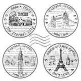 Stamp rome paris. Hand drawing set of vector sketches Stock Photography