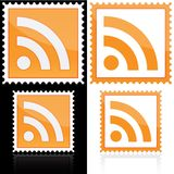 Stamp with RSS icon. On white and black Stock Photos
