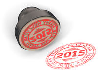Stamp rubber with the text Happy new year 2015. Isolated on white background. 3d render image royalty free illustration