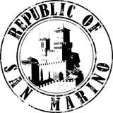 Stamp San Marino. Vector illustration of sketch stamp San Marino The Guaita fortress and inscription inside stock illustration