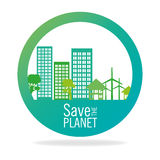 Stamp save the planet city energy eco icon graphic Royalty Free Stock Photos