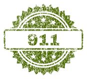 Grunge Textured 911 Stamp Seal. 911 stamp seal watermark with dirty style. Green rubber print of 911 label with dust texture Stock Illustration