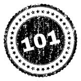 Scratched Textured 101 Stamp Seal. 101 stamp seal watermark with distress style. Black rubber print of 101 caption with corroded texture. Rubber seal imitation royalty free illustration