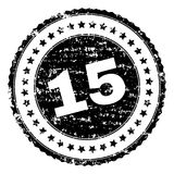 Grunge Textured 15 Stamp Seal. 15 stamp seal watermark with distress style. Black rubber print of 15 caption with unclean texture. Rubber seal imitation has Vector Illustration