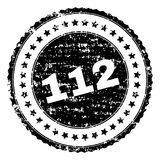 Grunge Textured 112 Stamp Seal. 112 stamp seal watermark with distress style. Black rubber print of 112 tag with retro texture. Rubber seal imitation has round stock illustration