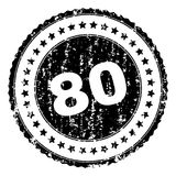 Grunge Textured 80 Stamp Seal. 80 stamp seal watermark with distress style. Black  rubber print of 80 tag with scratched texture. Rubber seal imitation has Stock Photography