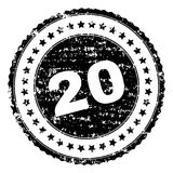 Scratched Textured 20 Stamp Seal. 20 stamp seal watermark with distress style. Black  rubber print of 20 tag with scratched texture. Rubber seal imitation has Stock Image