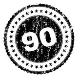 Scratched Textured 90 Stamp Seal. 90 stamp seal watermark with distress style. Black rubber print of 90 text with dirty texture. Rubber seal imitation has circle stock illustration