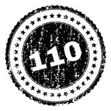 Scratched Textured 110 Stamp Seal. 110 stamp seal watermark with distress style. Black rubber print of 110 text with grunge texture. Rubber seal imitation has stock illustration