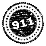 Scratched Textured 911 Stamp Seal. 911 stamp seal watermark with distress style. Black rubber print of 911 text with scratched texture. Rubber seal imitation has Vector Illustration