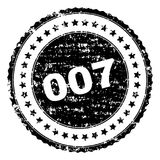 Scratched Textured 007 Stamp Seal. 007 stamp seal watermark with distress style. Black rubber print of 007 title with grunge texture. Rubber seal imitation has vector illustration