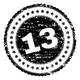 Grunge Textured 13 Stamp Seal. 13 stamp seal watermark with distress style. Black rubber print of 13 title with retro texture. Rubber seal imitation has circle Vector Illustration