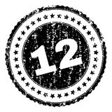 Scratched Textured 12 Stamp Seal. 12 stamp seal watermark with distress style. Black rubber print of 12 title with unclean texture. Rubber seal imitation has royalty free illustration