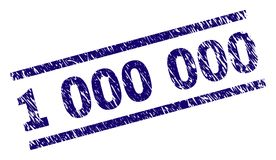Scratched Textured 1 000 000 Stamp Seal. 1 000 000 stamp seal watermark with distress style. Blue vector rubber print of 1 000 000 text with corroded texture royalty free illustration