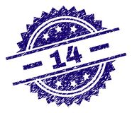 Grunge Textured 14 Stamp Seal. 14 stamp seal watermark with distress style. Blue vector rubber print of 14 title with scratched texture vector illustration