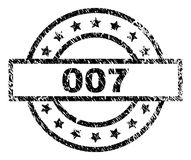 Grunge Textured 007 Stamp Seal. 007 stamp seal watermark with distress style. Designed with rectangle, circles and stars. Black rubber print of 007 title with stock illustration