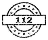 Scratched Textured 112 Stamp Seal. 112 stamp seal watermark with distress style. Designed with rectangle, circles and stars. Black vector rubber print of 112 vector illustration