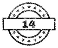 Scratched Textured 14 Stamp Seal. 14 stamp seal watermark with distress style. Designed with rectangle, circles and stars. Black vector rubber print of 14 label stock illustration