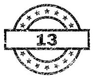 Grunge Textured 13 Stamp Seal. 13 stamp seal watermark with distress style. Designed with rectangle, circles and stars. Black vector rubber print of 13 label stock illustration