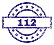 Grunge Textured 112 Stamp Seal. 112 stamp seal watermark with distress texture. Designed with rectangle, circles and stars. Blue rubber print of 112 caption with stock illustration
