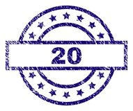 Scratched Textured 20 Stamp Seal. 20 stamp seal watermark with distress texture. Designed with rectangle, circles and stars. Blue  rubber print of 20 label with Royalty Free Stock Photo