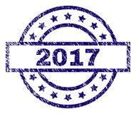 Grunge Textured 2017 Stamp Seal. 2017 stamp seal watermark with distress texture. Designed with rectangle, circles and stars. Blue  rubber print of 2017 label Royalty Free Stock Photos