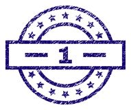 Grunge Textured 1 Stamp Seal. 1 stamp seal watermark with distress texture. Designed with rectangle, circles and stars. Blue  rubber print of 1 label with retro Stock Image