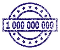 Scratched Textured 1 000 000 000 Stamp Seal. 1 000 000 000 stamp seal watermark with distress texture. Designed with rectangle, circles and stars. Blue vector royalty free illustration