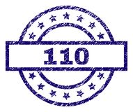 Scratched Textured 110 Stamp Seal. 110 stamp seal watermark with grunge effect. Designed with rectangle, circles and stars. Blue rubber print of 110 tag with royalty free illustration