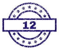 Scratched Textured 12 Stamp Seal. 12 stamp seal watermark with grunge style. Designed with rectangle, circles and stars. Blue rubber print of 12 caption with royalty free illustration