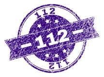 Grunge Textured 112 Stamp Seal. 112 stamp seal watermark with grunge style. Designed with ribbon and circles. Violet vector rubber print of 112 title with grunge royalty free illustration