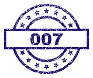 Grunge Textured 007 Stamp Seal. 007 stamp seal watermark with grunge texture. Designed with rectangle, circles and stars. Blue vector rubber print of 007 text vector illustration