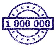 Scratched Textured 1 000 000 Stamp Seal. 1 000 000 stamp seal watermark with grunge texture. Designed with rectangle, circles and stars. Blue vector rubber print vector illustration