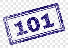 Scratched 101 Rectangle Stamp. 101 stamp seal watermark with rubber print style and double framed rectangle shape. Stamp is placed on a transparent background stock illustration