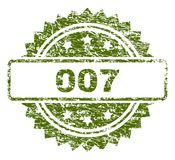 Scratched Textured 007 Stamp Seal. 007 stamp seal watermark with rubber print style. Green  rubber print of 007 label with grunge texture royalty free illustration