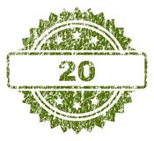 Grunge Textured 20 Stamp Seal. 20 stamp seal watermark with rubber print style. Green  rubber print of 20 tag with scratched texture Stock Photography
