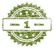 Grunge Textured 1 Stamp Seal. 1 stamp seal watermark with rubber print style. Green  rubber print of 1 text with corroded texture Stock Image