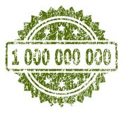 Scratched Textured 1 000 000 000 Stamp Seal. 1 000 000 000 stamp seal watermark with rubber print style. Green rubber print of 1 000 000 000 title with dust vector illustration