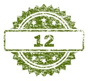 Grunge Textured 12 Stamp Seal. 12 stamp seal watermark with rubber print style. Green  rubber print of 12 title with unclean texture stock illustration