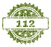 Scratched Textured 112 Stamp Seal. 112 stamp seal watermark with rubber print style. Green vector rubber print of 112 caption with corroded texture stock illustration