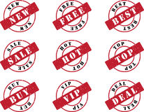 Stamp Set. Red Stamp Set for New Productions Stock Image