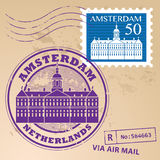Stamp set Amsterdam Royalty Free Stock Images