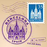 Stamp set Barcelona Stock Photo