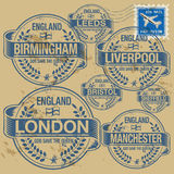 Stamp set England cities Royalty Free Stock Photo