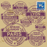 Stamp set France cities Royalty Free Stock Photography
