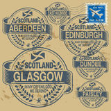 Stamp set. Grunge rubber stamp set with names of Scotland cities vector illustration